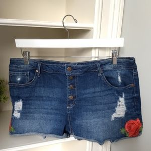 Denim Shorts 17 Embroidered Rose Patch Distressed